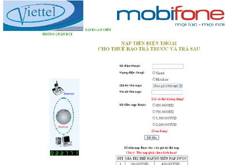 Website lừa đảo nạp card điện thoại.