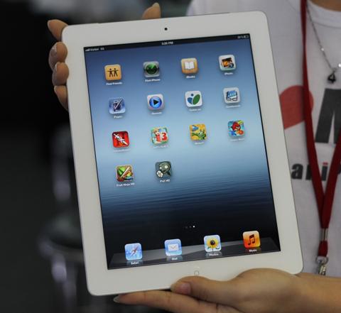 Màn hình iPad 3 đẹp và mịn. Ảnh: Quốc Huy.