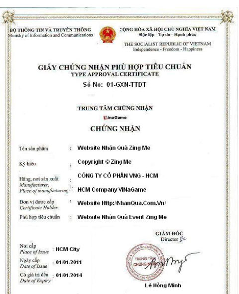 Một trang web giả mạo giấy tờ của nhà cung cấp chứng nhận được tặng tiền thẻ nạp.